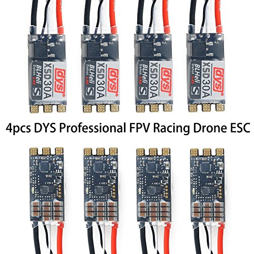 DYS 4pcs BLHeli-S 30A ESC Brushless ESC Dshot600 Dshot300 Oneshot42 Electronic Speed Controller 3-4S for FPV Multicopter Quadcopter Racing Drone (XSD 30A ESC)