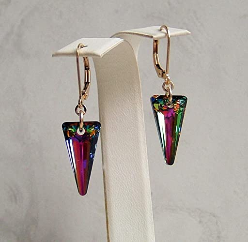 d0019f4b1 Amazon.com: Beautiful Multi Rainbow Spike Crystal Gold Filled Leverback Earrings  Made With Swarovski Gift Idea: Handmade