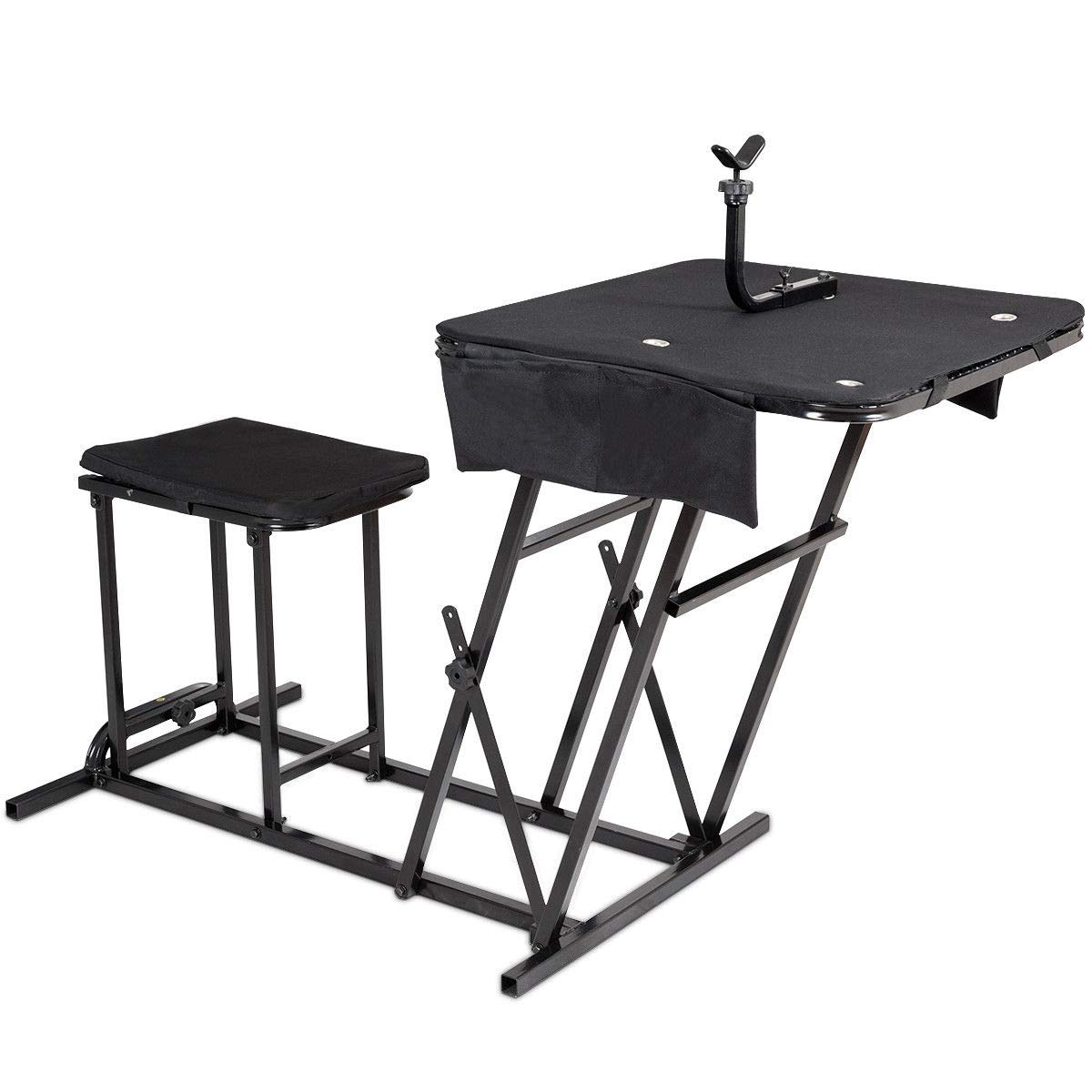 GOPLUS Portable Shooting Table Bench Seat with Adjustable Gun Rest and Ammo Pockets