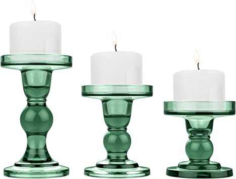 Amazon Com Lewondr Glass Candle Holders 3 Pieces Crystal Clear Candlesticks With Elegant Design For Pillar Taper Candle And Tea Light Home Table Living Room Wedding Party Decorations Home Décor Green Home