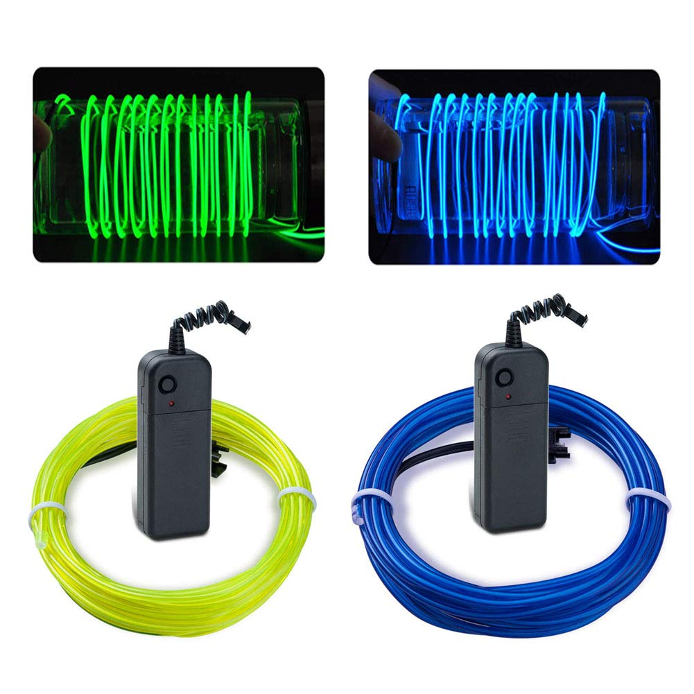 Dahen EL Wire Kit Neon Lights Battery Pack Christmas Tree,Halloween,Easter DIY Decoration,2PCS(1m / 3.2ft,Fluorescent Green,Blue) (Blue and Green)