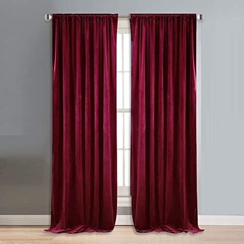 TIYANA 2 Panels Blackout Velvet Curtains Rod Pocket Curtains Room Darkening 52 inch Wide