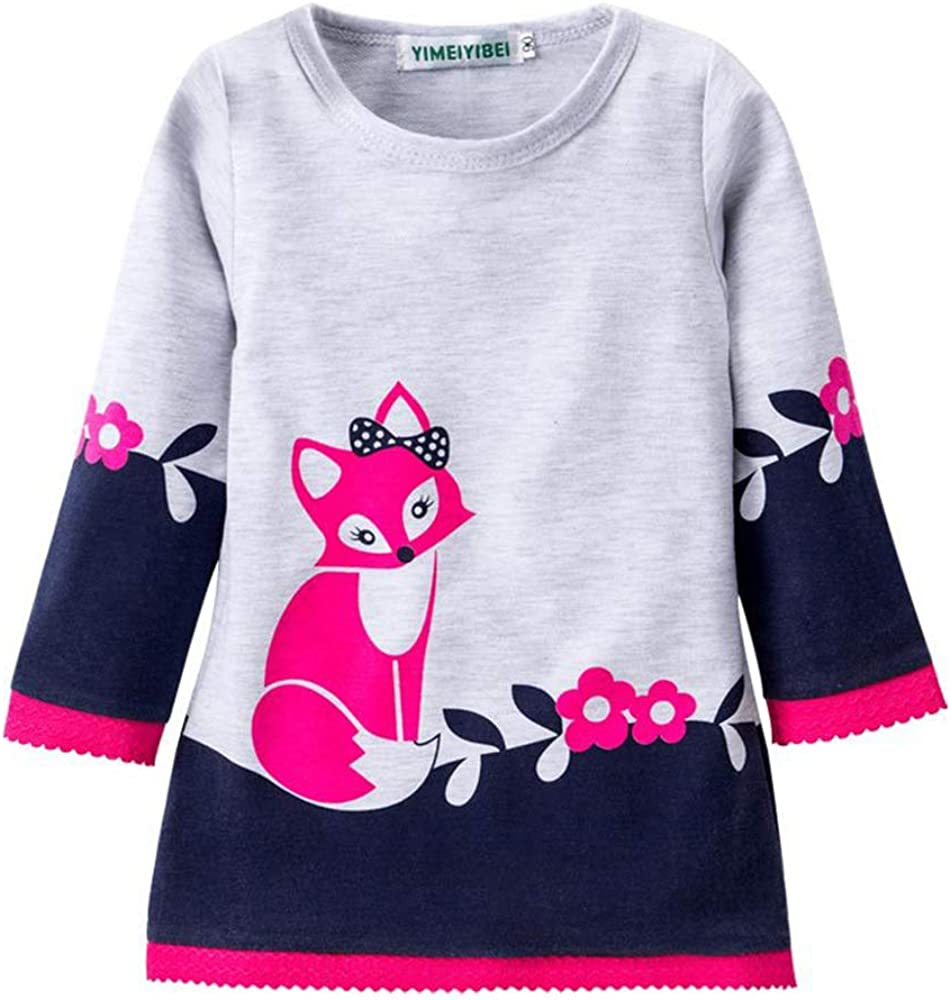 Toddler Kids Baby Girls Fall Dress Fox Printed Skirt Long Sleeve Outfit One-Piece Clothes Set