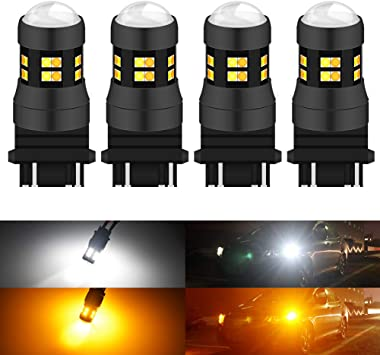 2x 3157 Switchback Amber//White 6000K Cree Chip LED Turn Signal Lights 60SMD LED