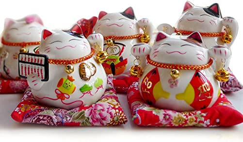 HY 4.5 White Ceramic Maneki Neko Lucky Cat Coin Bank 5 PCS Set