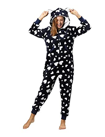 3c73366a4be Image Unavailable. Image not available for. Color  OYTRO Women Fashion  Print Hooded Pajamas Warm Long Sleeve Jumpsuit Home Wear Jumpsuits   Rompers