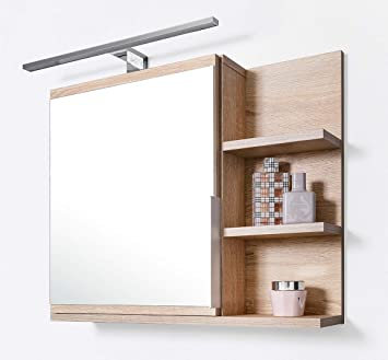Armoire De Salle De Bain Avec Tablette Et Eclairage Led Miroir De