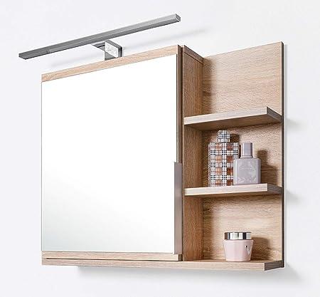 Armoire de Salle de Bain avec tablette et éclairage LED, Miroir de Salle de  Bain en chêne Sonoma, R