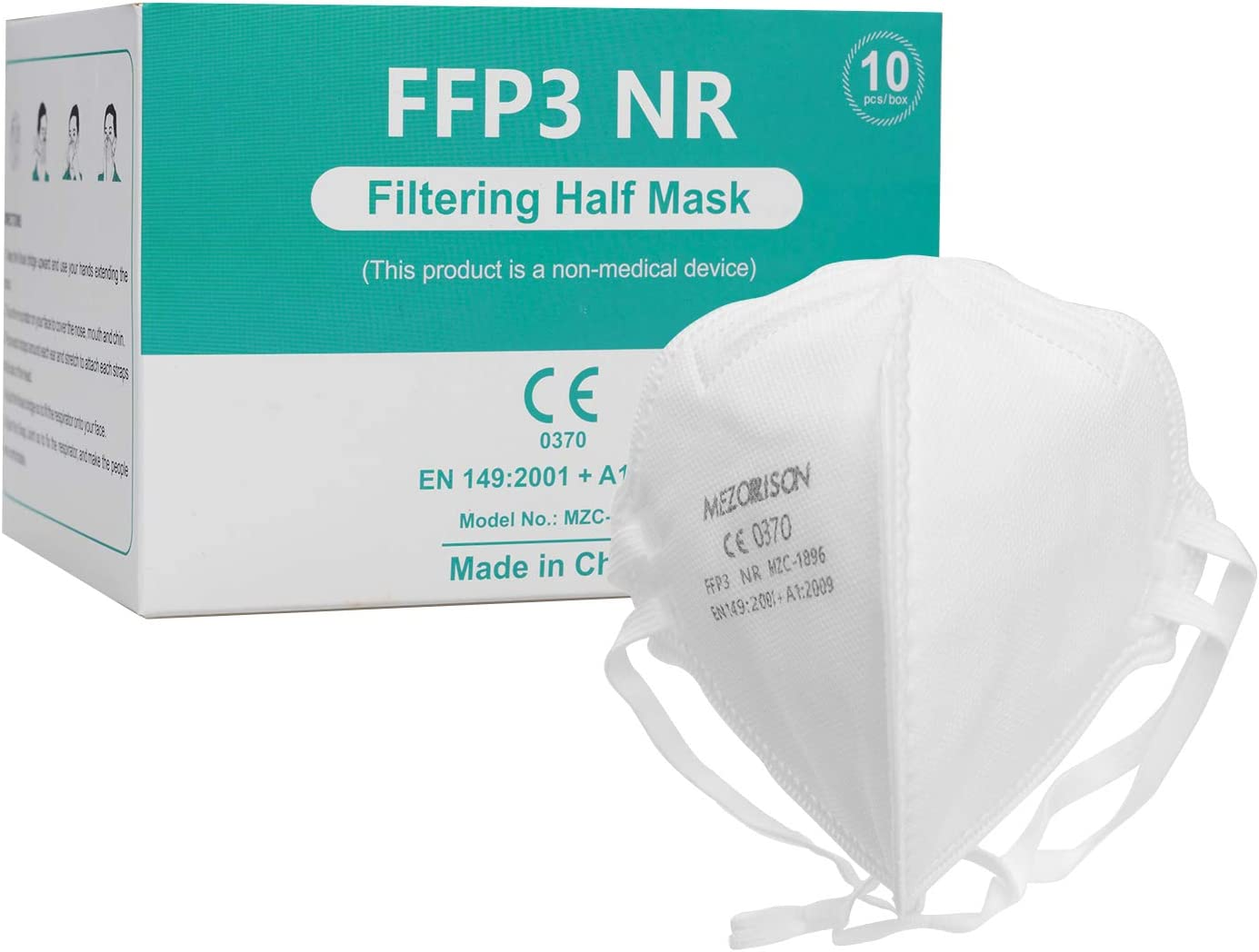 Mascarillas de respiración FFP3 con Válvula de Aire -10Pcs, Mascarillas Desechables 149: 2001 + A1: 2009, Mascarilla Protectora Respiratoria Multicapa con Alta Capacidad de Filtración