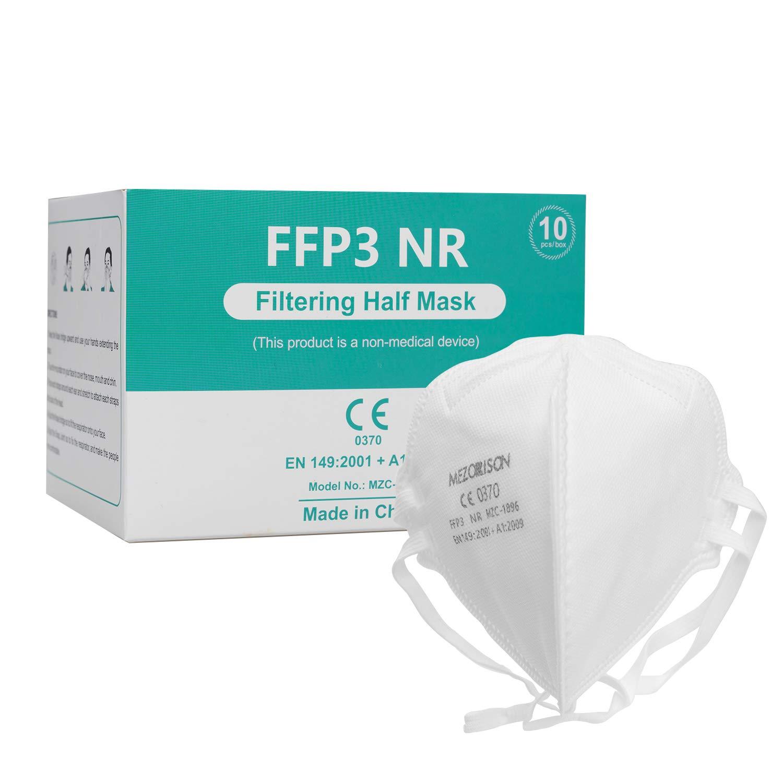 Mezorrison Mascarillas de respiración FFP3 con Válvula de aire -10Pcs, Mascarilla Desechable 149: 2001 + A1: 2009, Mascarilla Protectora Respiratoria Multicapa con Alta Capacidad de Filtración