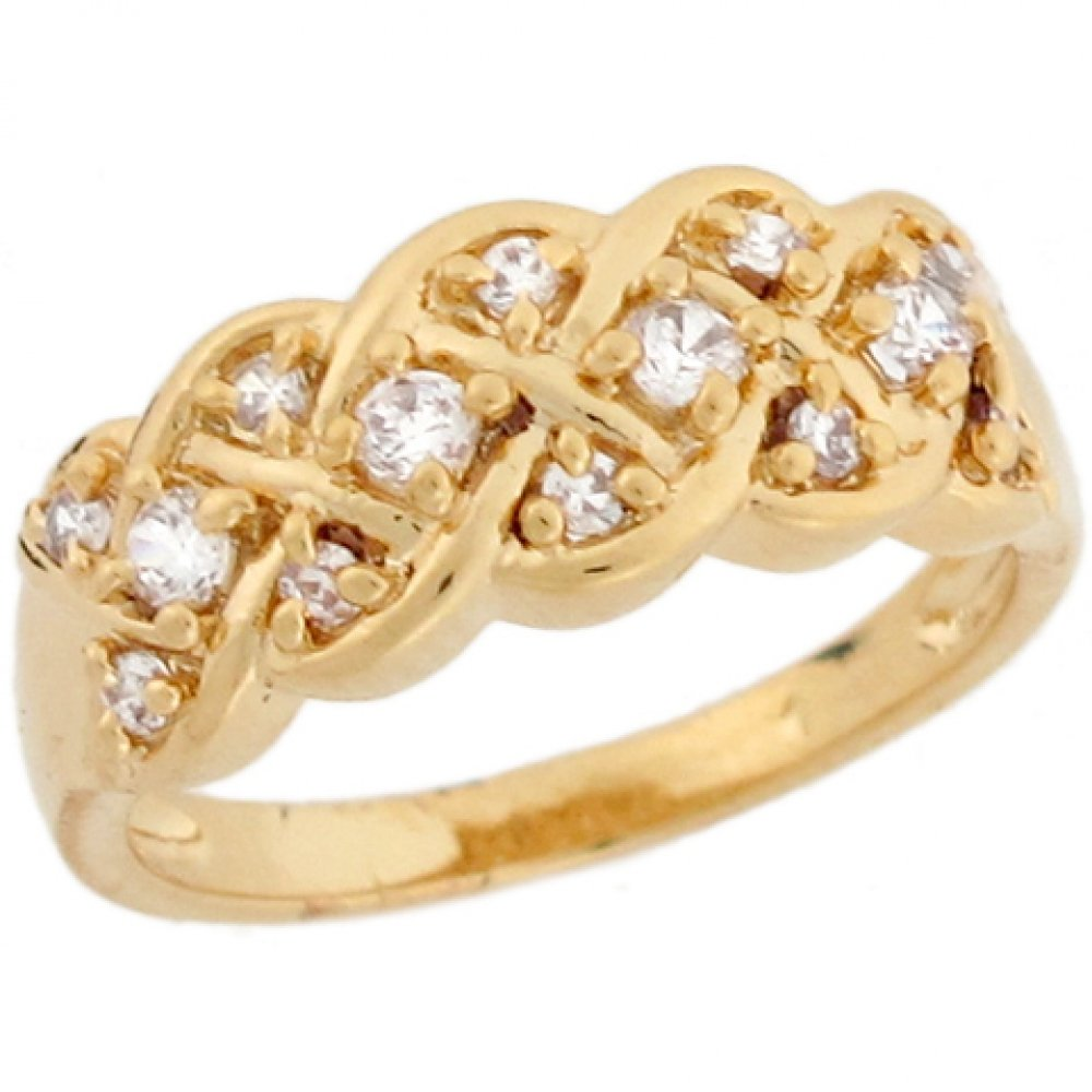 10k Yellow Gold White CZ Celtic Woven Eternity Band Ladies Ring
