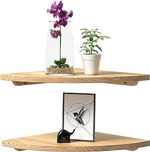 Wood Corner Shelf Set of 2, Rustic Corner Floating Shelves, Round Wall Mounted Hanging Corner Shelving for Bathroom, Bedroom, Living Room ,Kitchen, 12'' Natural