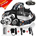 totobay 3 LEDs Zoomable Headlamp, Upgrade Version 5000lm 4 Modes Head Flashlight Lights with 2 Rechargeable Batteries and Wall Charger for Outdoor Sports by GRDE
