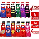 Sholin Superhero Dress up Costumes 6 Double-Sided Design Satin Capes with 12 Felt Masks for Boys and Girls
