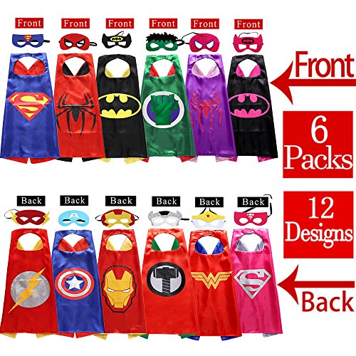 Sholin Superhero Dress Up Costumes 6 Double-Sided Design