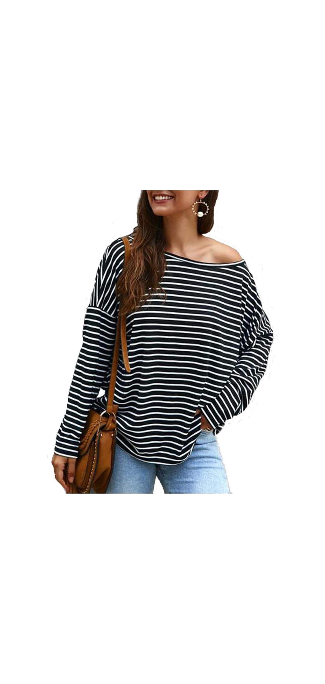 Women's Off Shoulder Long Sleeve Boat Neck Striped Shirts