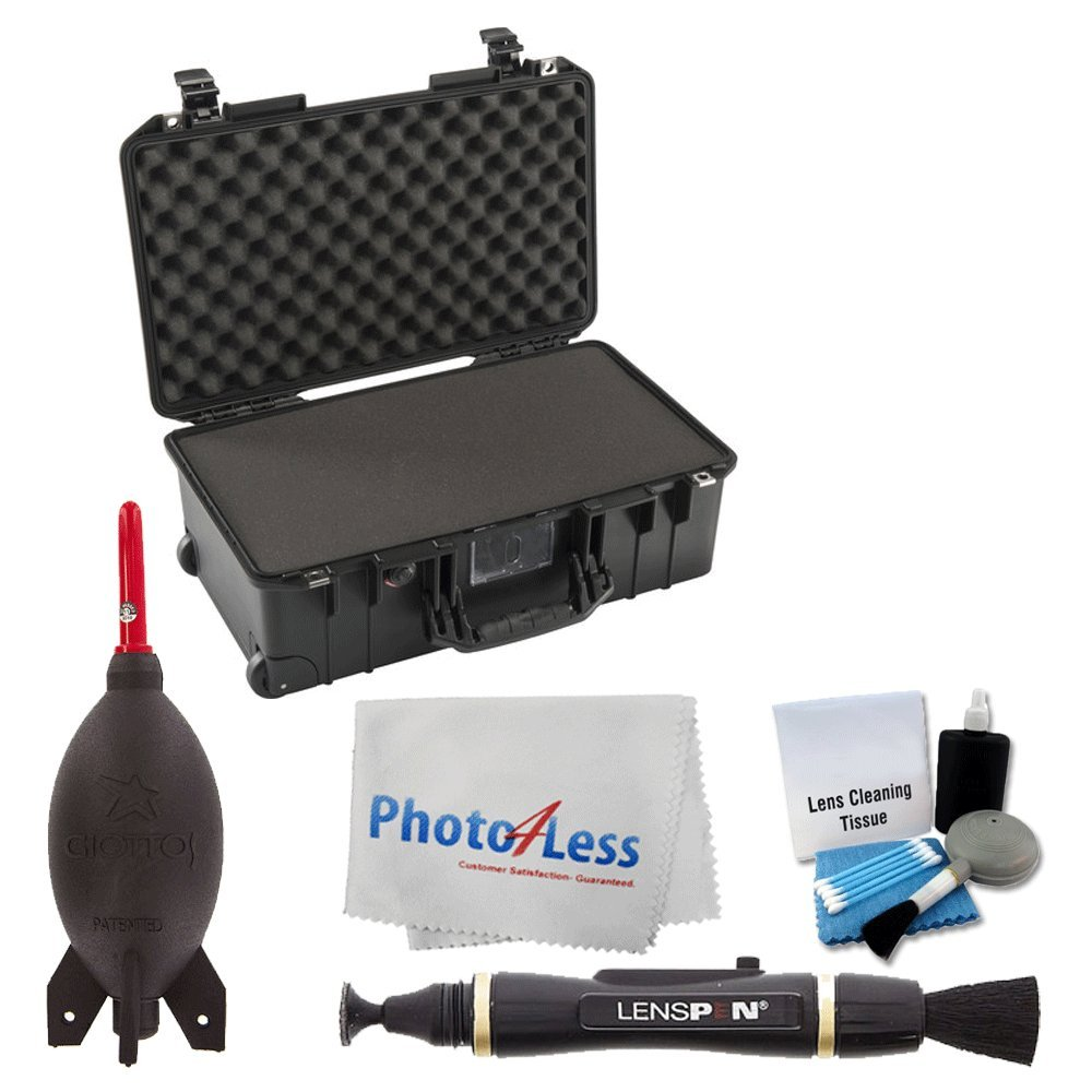 Pelican 1535Air Wheeled Carry-On Case (Black, with Pick-N-Pluck Foam) + Giottos Rocket Air Blaster + Lens Pen + 5 Piece Cleaning Kit + Photo4Less Camera & Lens Cleaning Cloth - Complete Valued Bundle by PHOTO4LESS