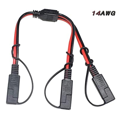14AWG SAE DC Power Automotive Connector Cable Y Splitter 1 to 2 SAE Extension Cable, Fit for Suitable for Solar Battery Connection and Transfer 12inch/30cm - with Protective Cover: Car Electronics
