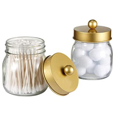 SheeChung Mason Jar Bathroom Apothecary Jars - Qtip Holder Canister Gold Bathroom Accessories Vanity Storage Organizer Glass for Qtips,Cotton Swabs,Ball,flossers,Hair Bands/Gold (2 Pack)