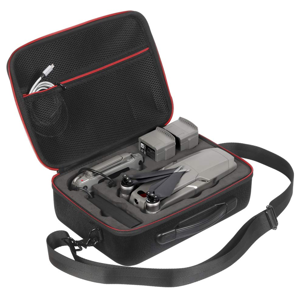 JSVER Hard Shell Protective Bag Travel Carrying Case Compatible for DJI Mavic 2 Pro/Mavic 2 Zoom Fly MoreCombo with a Flexible Shoulder Strap and a Carrying Handle (Black)