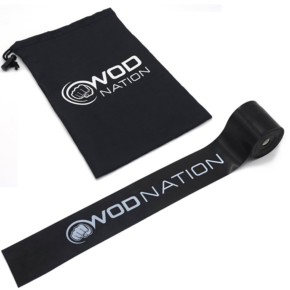 WOD Nation Muscle Floss Bands Recovery Band for Tack and Flossing Sore Muscles and Increasing Mobility - Stretch Band Includes Carrying Case (1 Black - Medium Strength)