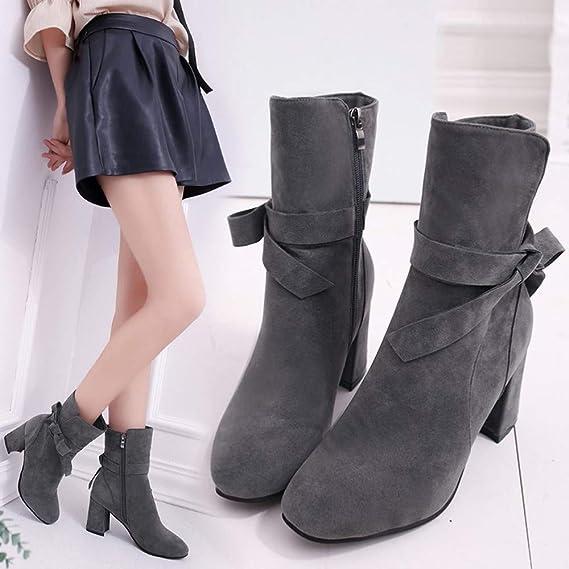 Botines Casual del alto talón elegante mujer,Sonnena ❤ Botíne hasta el tobillo Zapatos de tacones altos de mujer de fondo plano zapatos con cremallera ...