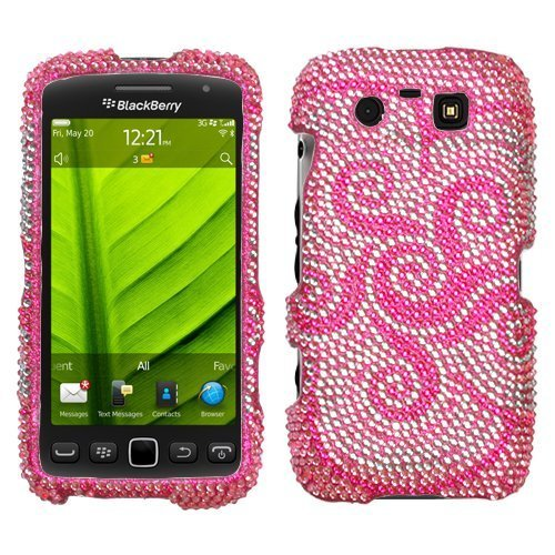 Whirl Flower Diamante Phone Protector Faceplate Cover For RIM BLACKBERRY 9850(Torch), (Protector Cover Blackberry Torch)