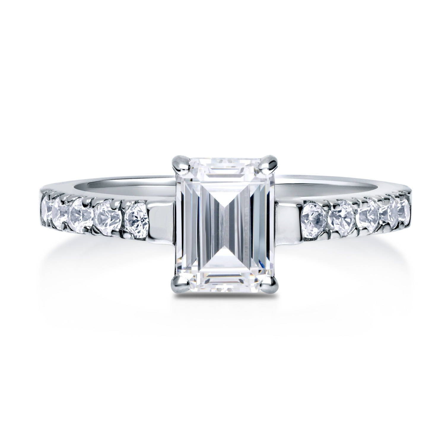 BERRICLE Rhodium Plated Sterling Silver Emerald Cut Cubic Zirconia CZ Solitaire Promise Engagement Ring 1.5 CTW