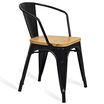 Santani Mobili Chaise En Metal Tolix Style Accoudoir Wood
