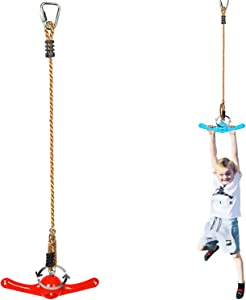 Winslow&Ross Ninja Line Attachments, Obstacle Course Accessories - 360° Spinning Swing Toys for Kids - 20-37inches Adjustable Monkey Jungle Gym for Playground Backpyard Training (Red)