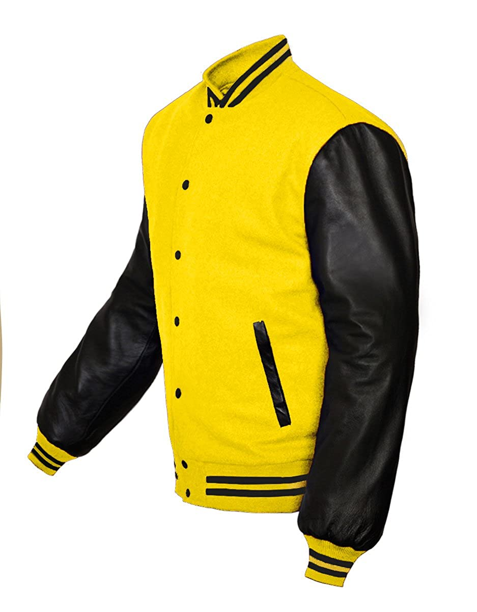 Superb Genuine Leather Sleeve Letterman College Varsity Kid Wool Jackets