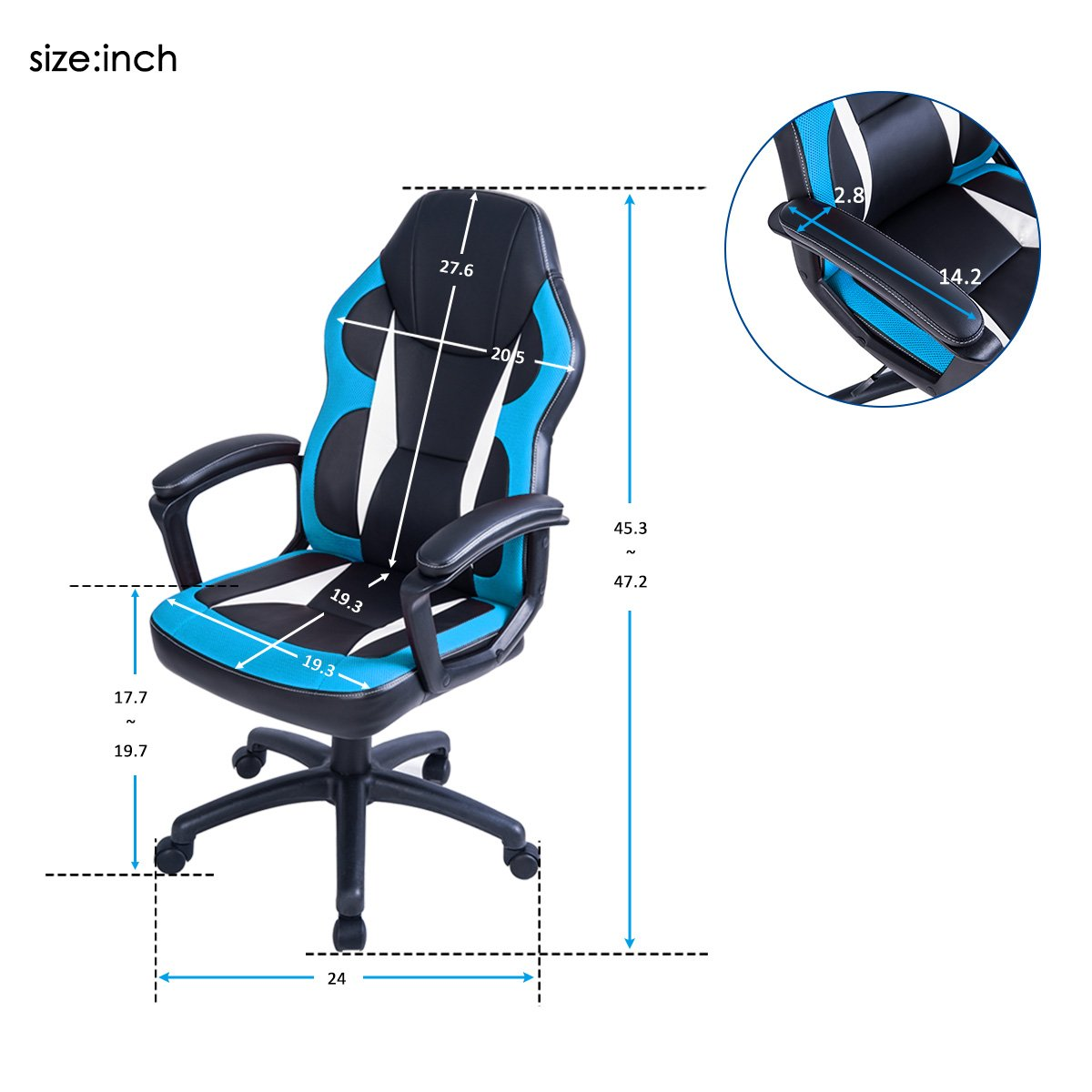 Merax Gaming Chair Racing Style Computer Chair Ergonomic PU Leather Swivel Chair for Home and Office Blue