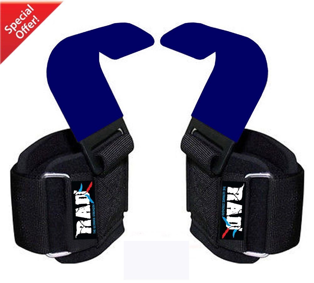 RAD Heavy Duty Weightlifting Hooks Wrist Support Straps Power Gripper Chin Up Dip (Blue)