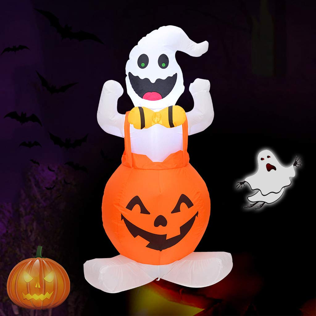 Dowager 4ft Halloween Inflatable Decoration Pumpkin with 1 Ghosts for Home Yard Garden Indoor and Outdoor Decor by Dowager_Home Decor