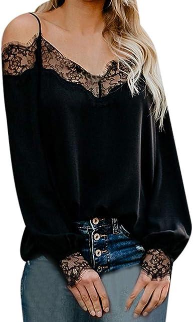 Camisetas Mujer, Moda Color SóLido Camisa De Manga Larga Sexy Negra Camiseta CóModo Y Casual Blusas Tapa Tops De Costura De Encaje Suelto Y Transpirable Top De La Honda: Amazon.es: Ropa y