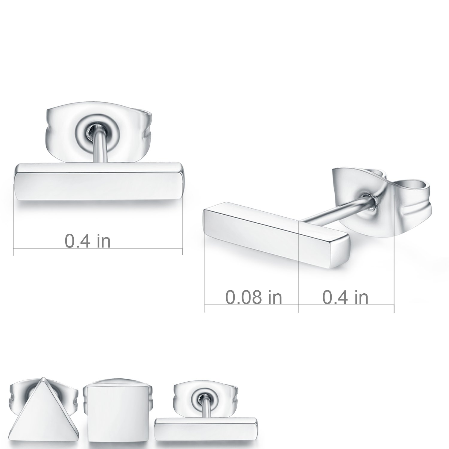 SPINEX 3 Pairs Silver Stud Earring Set Pierced (Rectangle, Square, Triangle) by SPINEX (Image #5)