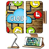 Luxlady Premium Apple iPhone 7 iPhone 8 Flip Pu Wallet Case IMAGE ID: 34402076 Aerial View of People and Cloud Computing Concepts