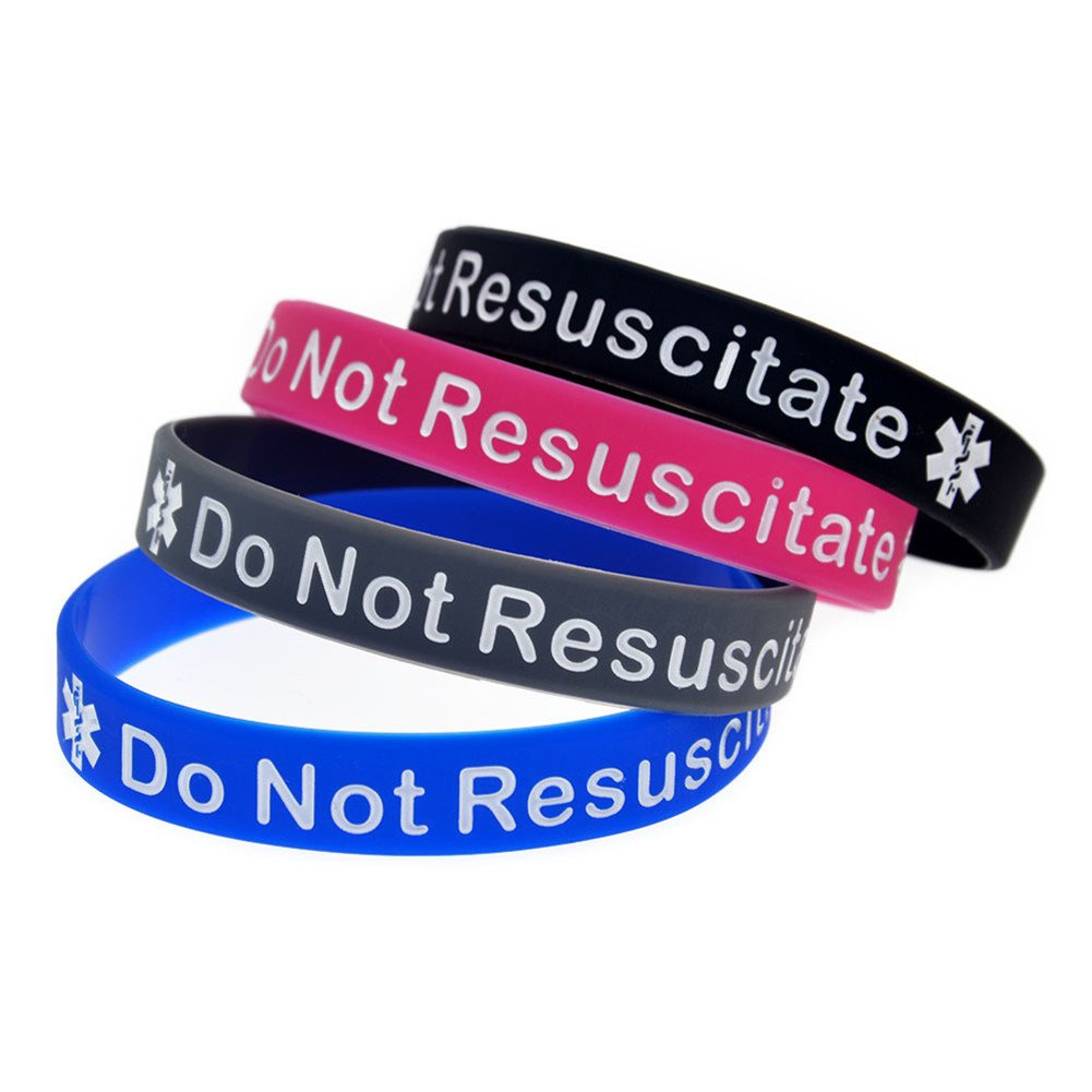 LiFashion LF 4Pcs Silicone Rubber Chain Medical DNR Bracelet Health Alert Monitoring Systems Emergency Cuff Wrap Wristband for Men Women Kids,Do not Resuscitate