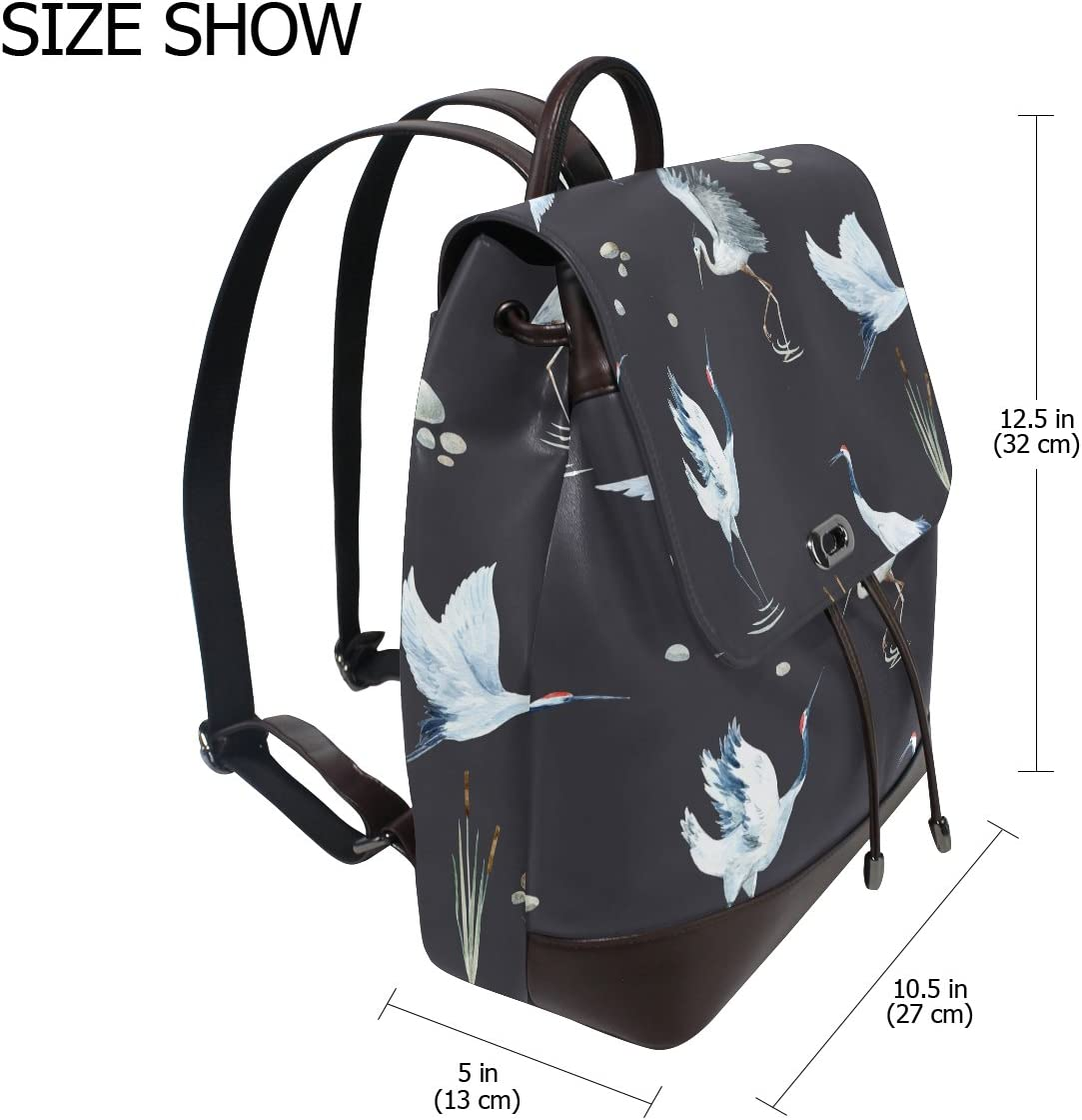 KUWT Red-Crowned Crane PU Leather Backpack Photo Custom Shoulder Bag School College Book Bag Rucksack Casual Daypacks Diaper Bag for Women and Girl