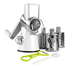 Ourokhome Rotary Cheese Grater Shredder - 3 Drum Blades Manual Vegetable Slicer Nut Grinder with Vegetable Peeler and Cleaning Brush (white Gray)