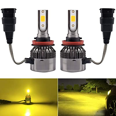 1797 H11 H8 H16(JP) Headlight Fog LED Light Bulbs Amber Yellow 3000K Color for Trucks Cars Lamps DRL Lights Fan Plug Daylight Kit Replacement 12V 24V 72W 7200LM Super Bright COB Chips 1 Year Warranty: Automotive