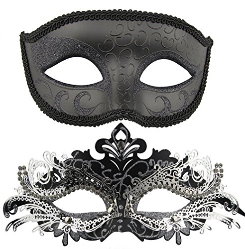 Couple Masquerade Metal Masks Venetian Halloween Costume Mask Mardi Gras Mask (Black+Black-Sliver) -