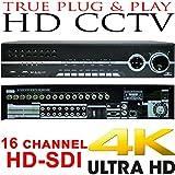 USG Business Grade 4MP 16 Channel HD-SDI Security DVR : Up To 4MP Video Resolution, 16x BNC HD Video-In, 8x SATA, USB, 2x HDMI + VGA + Spot BNC, RCA Audio, RS232C, Alarm : Free Phone App