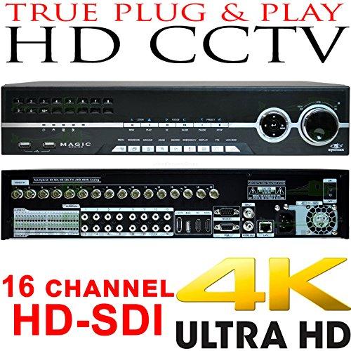 USG Business Grade 4MP 16 Channel HD-SDI Security DVR : Up To 4MP Video Resolution, 16x BNC HD Video-In, 8x SATA, USB, 2x HDMI + VGA + Spot BNC, RCA Audio, RS232C, Alarm : Free Phone App by Urban Security Group