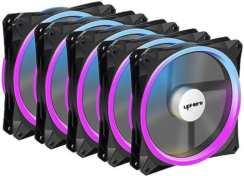 upHere Ventiladores ultra silenciosos LED RGB para estuches y radiadores para disipadores de calor de CPU 140 mm (Pack de 5) (Rgb143: Amazon.es: Electrónica