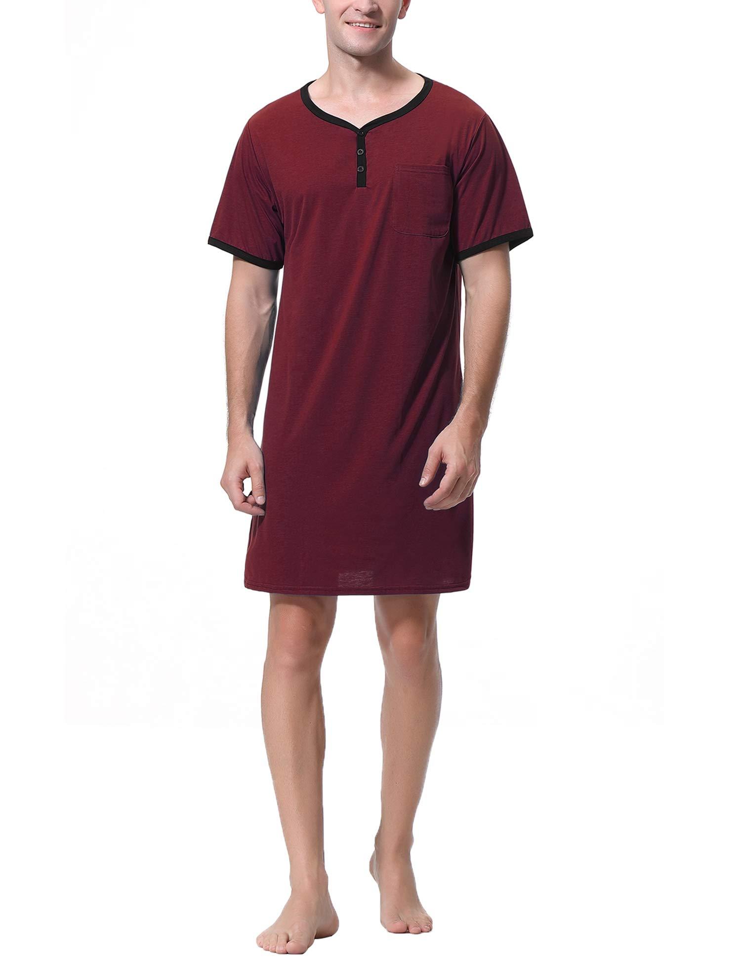 Mens Nightshirts Short Sleeve Nightgown Pajamas Nightwear Lightweight Sleepwear for Summer Home Hospital M-XXXL