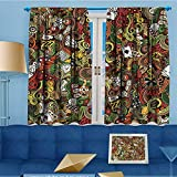 alsohome Print Woven Sateen Window Curtain,Doodles Style Bingo Excitement Checkers King Tambourine Vegas Bathroom Panel Pair with Grommet Top, 55'' W x 63'' L
