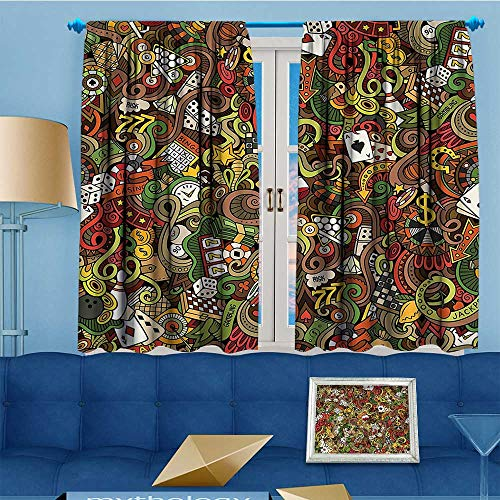 alsohome Print Woven Sateen Window Curtain,Doodles Style Bingo Excitement Checkers King Tambourine Vegas Bathroom Panel Pair with Grommet Top, 55'' W x 63'' L by alsohome