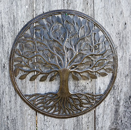 "Steel Drum Organic Tree of Life Recycled Metal Art from Haiti, Decorative Wall Hanging 23"" X 23"" Fair Trade Federation Certified"