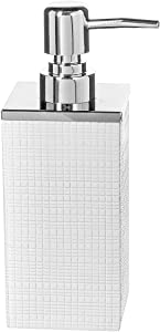 Creative Scents Estella Liquid Soap Dispenser for Bathroom - Decorative Hand Lotion Metal Pump for Vanity Countertop, Holds 8 oz (White)